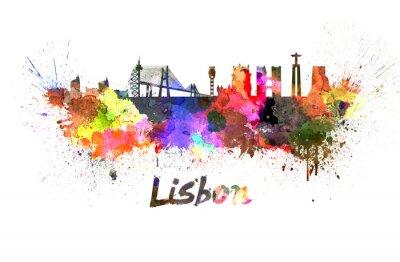 Quadro Orizzonte di Lisbona in acquerello