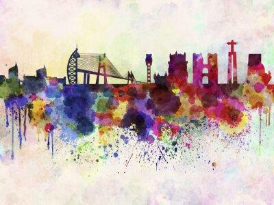 Quadro Orizzonte di Lisbona in acquerello sfondo