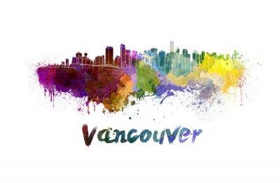 Quadro Orizzonte di Vancouver in acquerello
