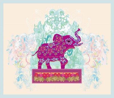 Quadro Ornamento Vintage indiano con un elefante