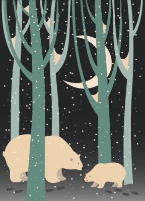 Quadro Orso polare e cub nel bosco