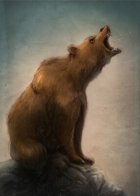 Quadro oso pardo salvaje