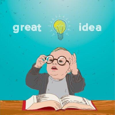 Quadro Ottima idea, capretto con il libro e la lampadina sopra la sua testa