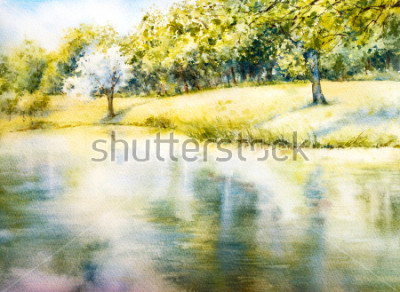 Quadro Paesaggio ad acquerello Parco estivo Natura. Acquerello illustrazione botanica. Paesaggio con un lago. Costa