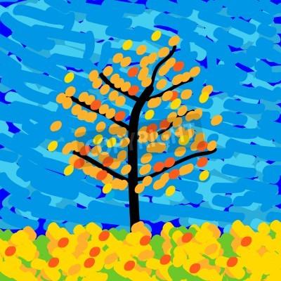 Quadro Paesaggio autunnale nello stile di impressionismo. Illustrazione vettoriale.