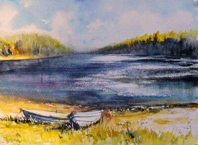 Quadro Paesaggio con barche da pesca sulla costa del lago. Immagine creata con acquerelli.