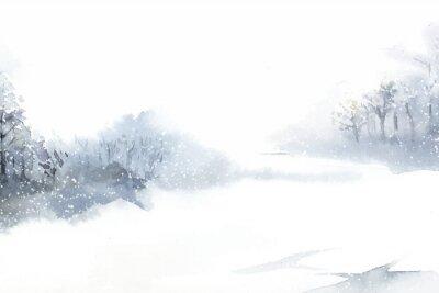 Quadro Paesaggio del paese delle meraviglie di inverno dipinto dal vettore dell'acquerello