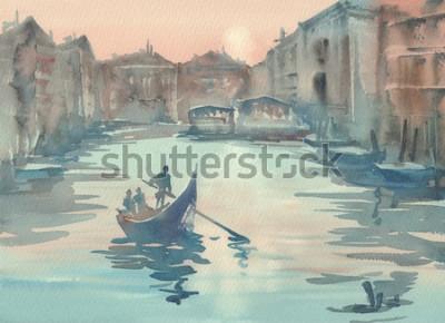 Quadro Paesaggio dell'acquerello della foschia di schizzo di Venezia di mattina con una gondola