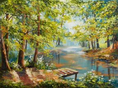 Quadro Paesaggio della pittura a olio - foresta di autunno vicino al fiume, foglie dell'arancia