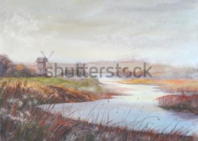 Quadro Paesaggio della pittura dell'acquerello Fiume e vecchio mulino a vento Illustrazione disegnata a mano dell'acquerello.