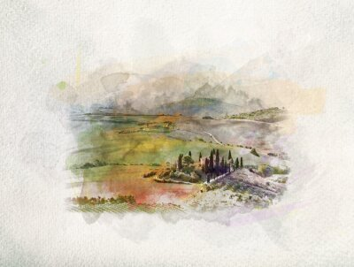 Quadro Paesaggio della Toscana ad alba in acquerelli.