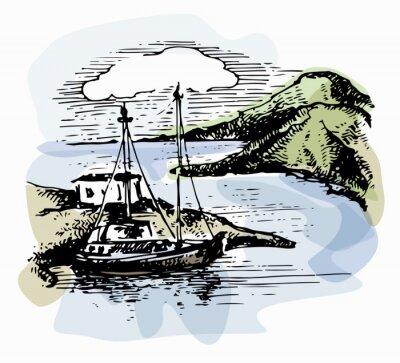 Quadro Paesaggio di acquerello. Illustrazione vettoriale