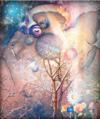 Quadro Paesaggio di fantasia con albero stregato