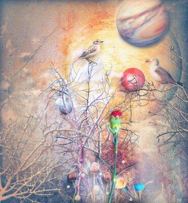 Quadro Paesaggio di fantasia con albero stregato, uccelli e garofano rosso