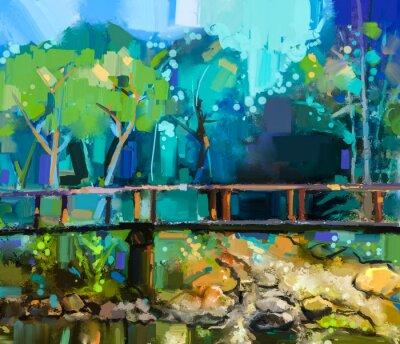 Quadro paesaggio dipinto ad olio con ponte di legno sul torrente nella foresta. Dipinto a mano della foresta natura estate colorata con il colore blu giallo e verde
