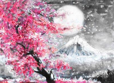 Quadro paesaggio dipinto ad olio con Sakura e montagna, Figura disegnata a mano, Giappone