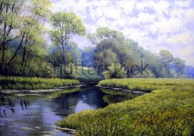 Quadro Paesaggio dipinto ad olio, foresta colorata estate, bellissimo fiume