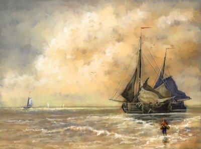 Quadro Paesaggio dipinto ad olio, mare, navi, barca
