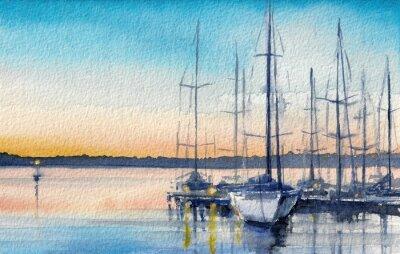 Quadro Paesaggio estivo con barche a vela nella baia.