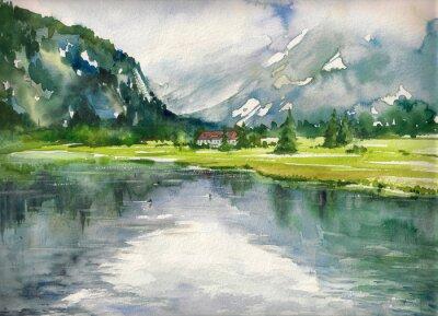 Quadro Paesaggio estivo con lago di montagna dipinto con acquerelli