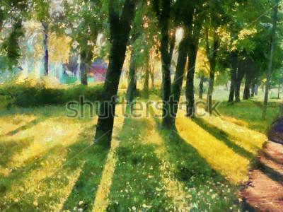 Quadro Paesaggio estivo Gli alberi nel parco, un'ombra sull'erba. Acquerello. Per la stampa su ceramica e tessuto.