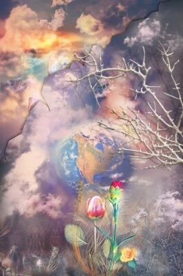Quadro paesaggio incantato e fantastico con fiori colorati serie