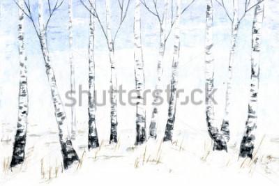 Quadro Paesaggio invernale dell'acquerello disegnato a mano. Illustrazione della foresta, Alberi d'inverno. betulla