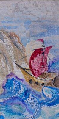 Quadro paesaggio marino Acquerello con veliero nel mare in tempesta alla LAN