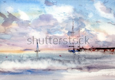 Quadro paesaggio marino del porto dell'acquerello