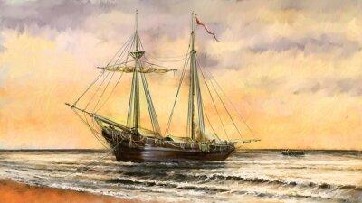 Quadro Paesaggio marino di olio dipinti. Navi, barca, pescatore
