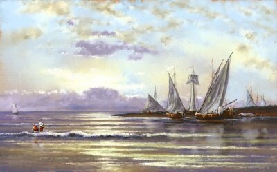 Quadro Paesaggio marino, pescatore, olio dipinti digitali