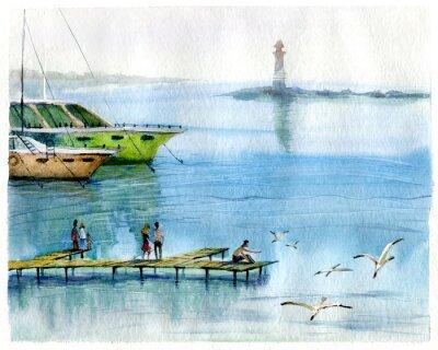 Quadro Paesaggio marino, yacht, acquerello