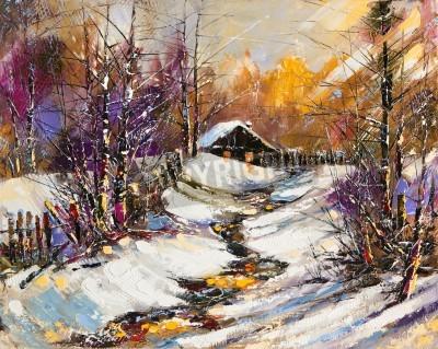 Quadro Paesaggio rurale di inverno