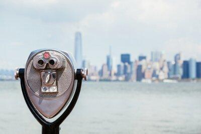 Quadro Paesaggio urbano di New York con il binocolo