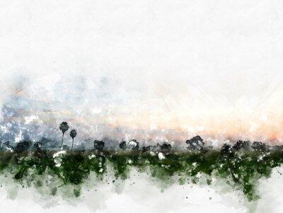 Quadro Paesaggio variopinto astratto del campo sul fondo della pittura dell'illustrazione dell'acquerello.