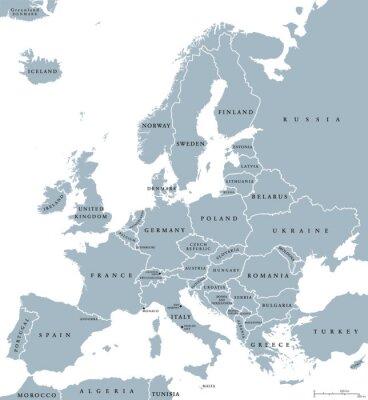 Quadro paesi dell'Europa Politica mappa con i confini nazionali e nomi dei paesi. etichettatura inglese e il ridimensionamento. Illustrazione su sfondo bianco.