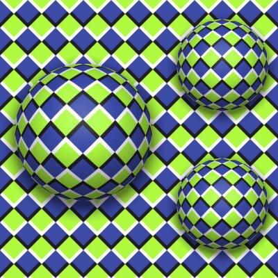 Quadro Palle rotolano giù. Abstract vettore seamless con illusione ottica del movimento.