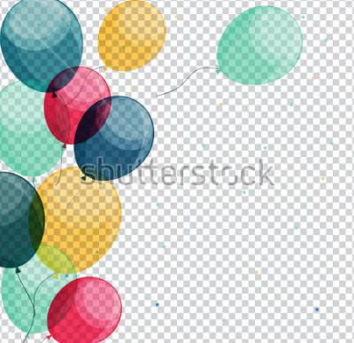 Quadro Palloni lucidi di buon compleanno sull'illustrazione trasparente eps10 di vettore del fondo