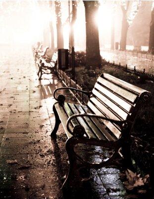 Quadro Panchina in Vicolo di notte con le luci a Odessa,
