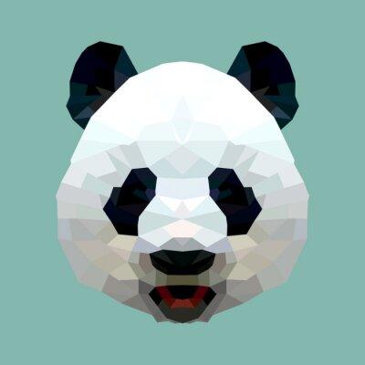 Quadro panda head polygon isolated vector