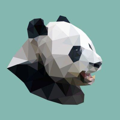 Quadro panda poligonale, poligono animale astratto geometrico, illus di vettore