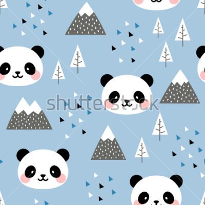 Quadro Panda Seamless Pattern Background, Scandinavo Felice panda carino nella foresta tra albero di montagna e nuvole, Cartoon Panda Bears Vector illustration per bambini sfondo nordico con punti a triangol