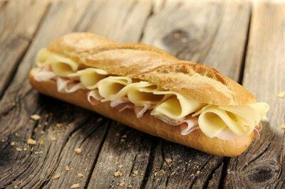 Quadro Pane Baguette con prosciutto e formaggio