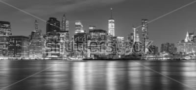 Quadro Panorama di New York al bianco e nero alla notte, USA