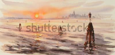 Quadro Panorama di venezia laguna al tramonto. Immagine creata con acquerelli.