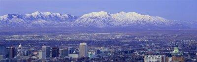 Quadro Panoramica del tramonto di Salt Lake City con innevate montagne Wasatch