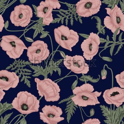 Quadro Papaveri. Vector background senza soluzione di continuità in stile vintage. Modello di pianta. Disegno botanico.