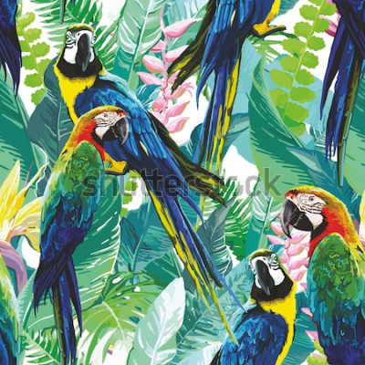Quadro pappagalli colorati e fiori esotici