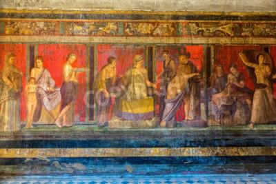 Quadro parete dipinta nella città di Pompei, distrutta nel 79BC dall'eruzione del Vesuvio