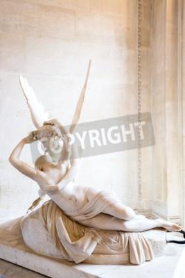Quadro Parigi - 23 giugno: statua Cupid on giu 23, 2014 a Parigi. Statua Psiche di Antonio Canova Rianimato dal di Cupido bacio, prima commissionata nel 1787, esemplifica la devozione all'amore neoclassico e